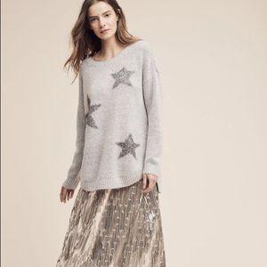 Anthropologie Oversize Grey Star Sweater